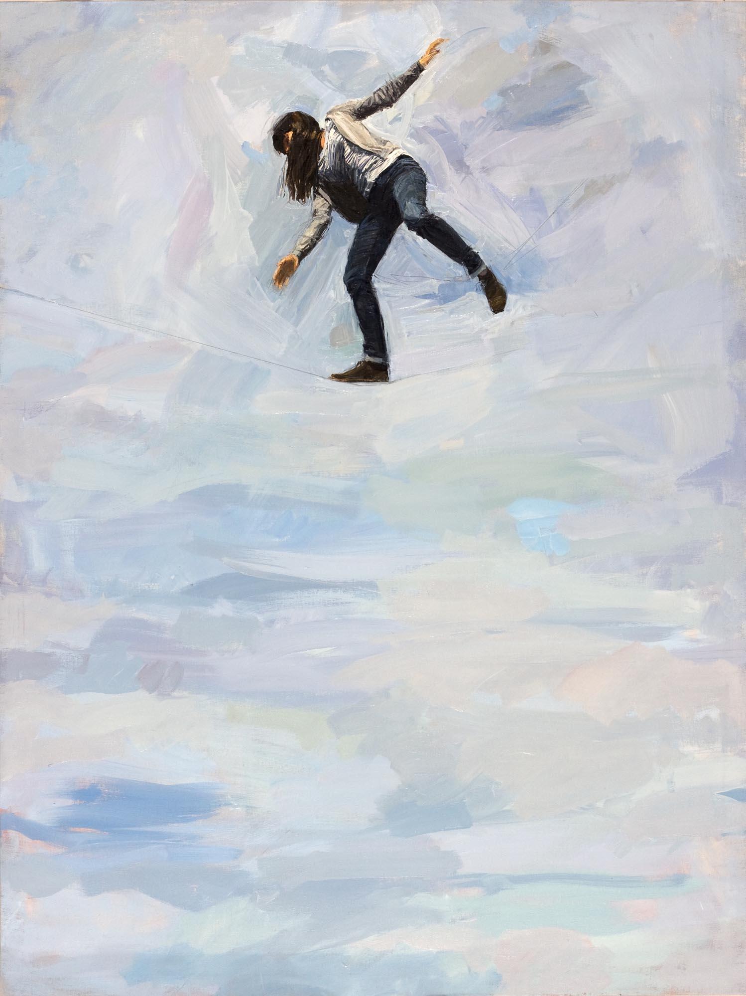 Quique Sena. En la cuerda floja I, 2013. Óleo sobre lienzo, 160 x 120 cm.