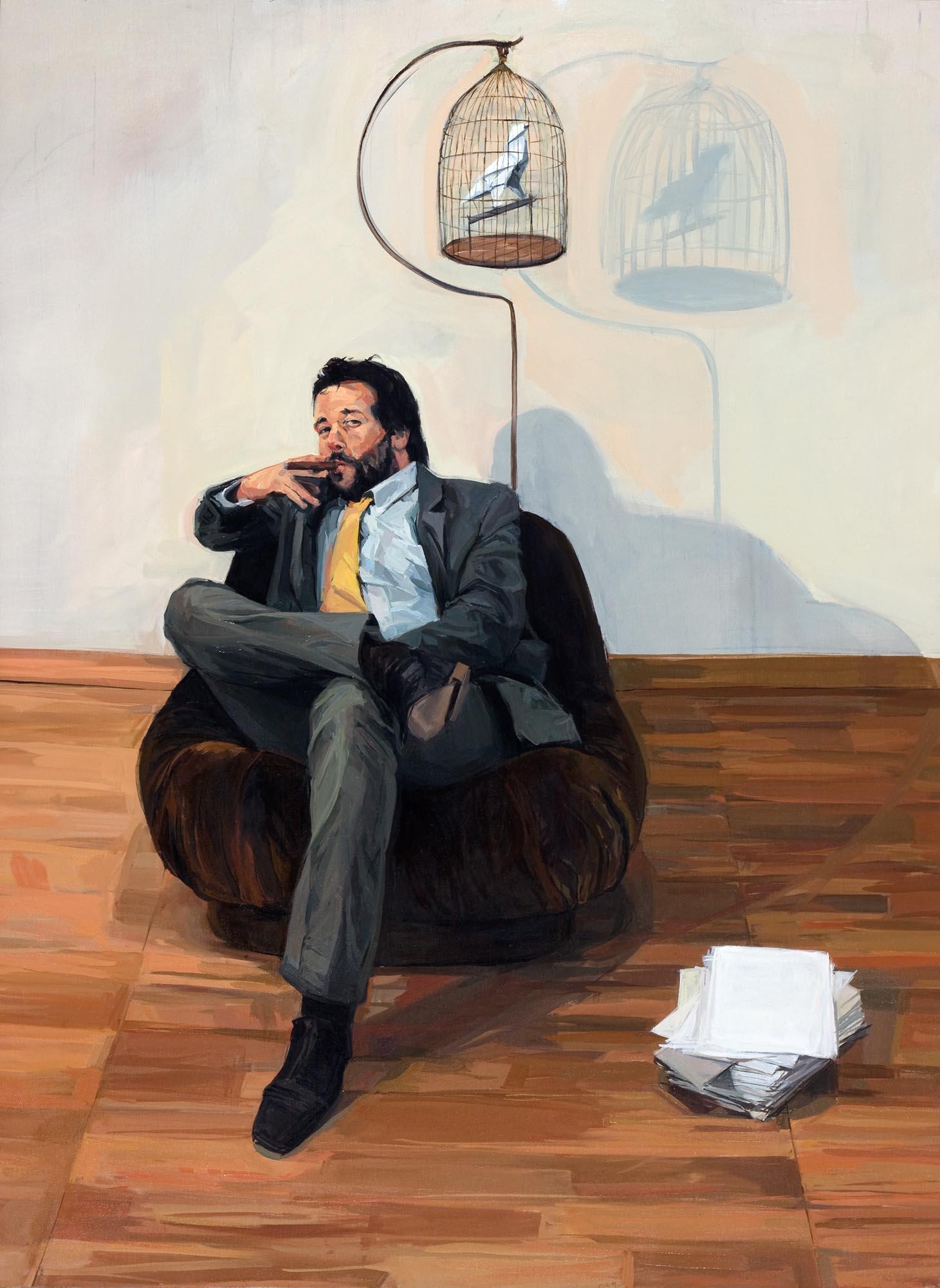 Quique Sena. La jaula (1), 2011. Óleo sobre lienzo, 150 x 110 cm.