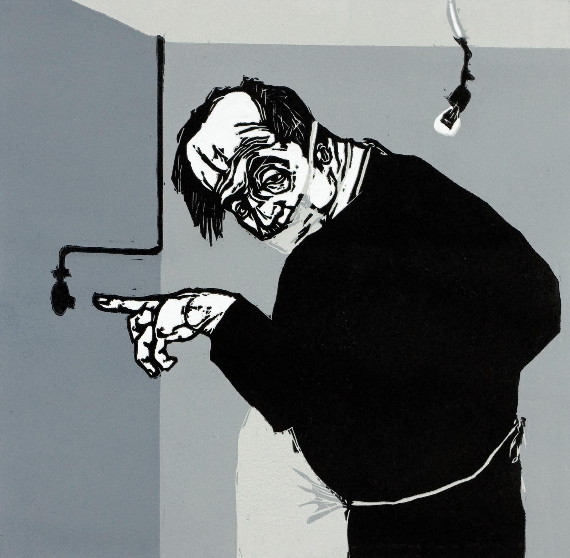 Quique Sena. Tras la mirilla I, 2005. Xilografía,  24,5 x 25 cm (imagen).